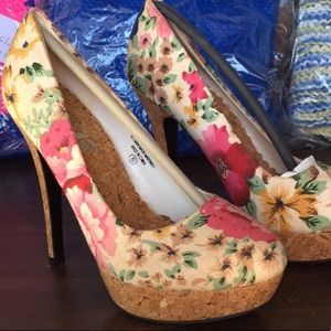 Beautiful floral print high heels